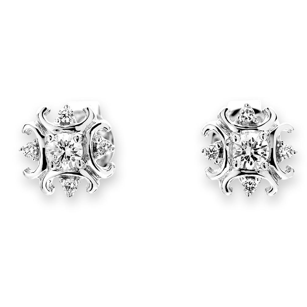 Royal Windsor Earrings in 18k White Gold with Diamonds (0.201ct) Earrings IAD
