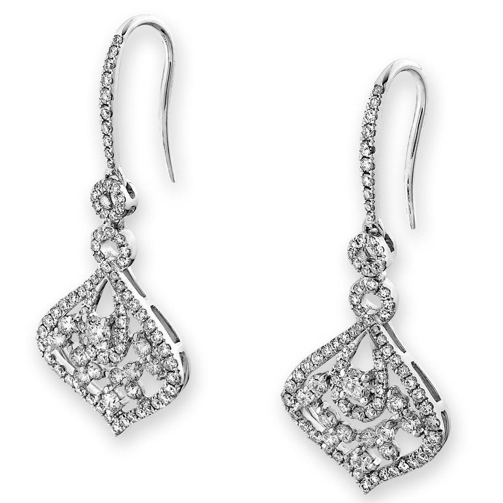 Royal Windsor Earrings in 18k White Gold with Diamonds (1.626ct) Earrings IAD