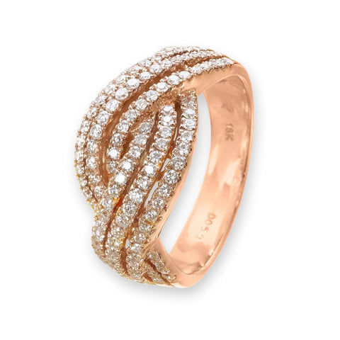 Infinite Ribbons Bangle in 18k Rose Gold with Diamonds (0.239ct)