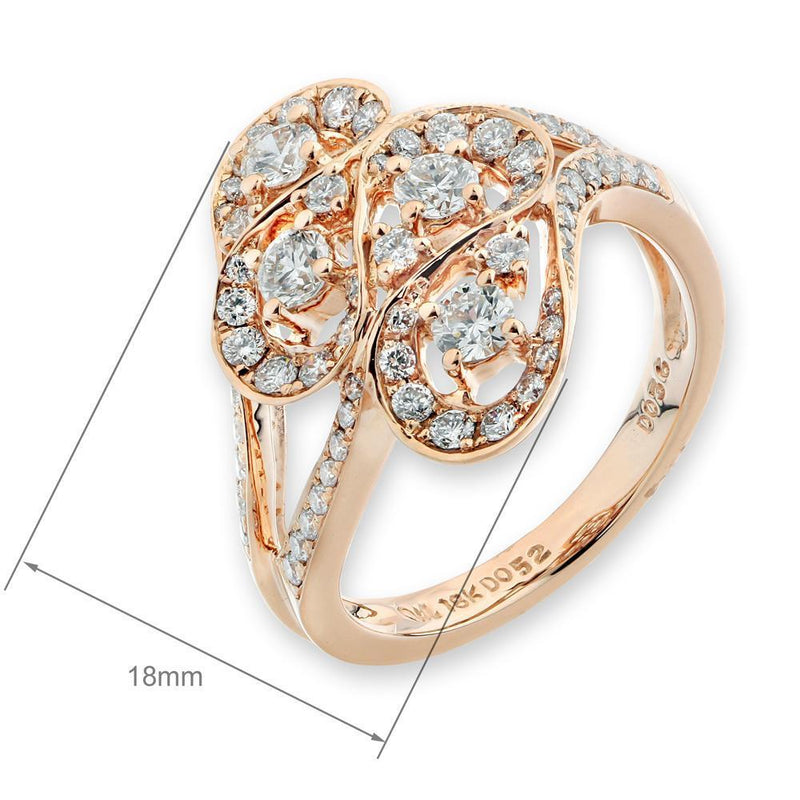 Royal Windsor Ring in 18k Rose Gold with Diamonds (0.854ct) Ring IAD