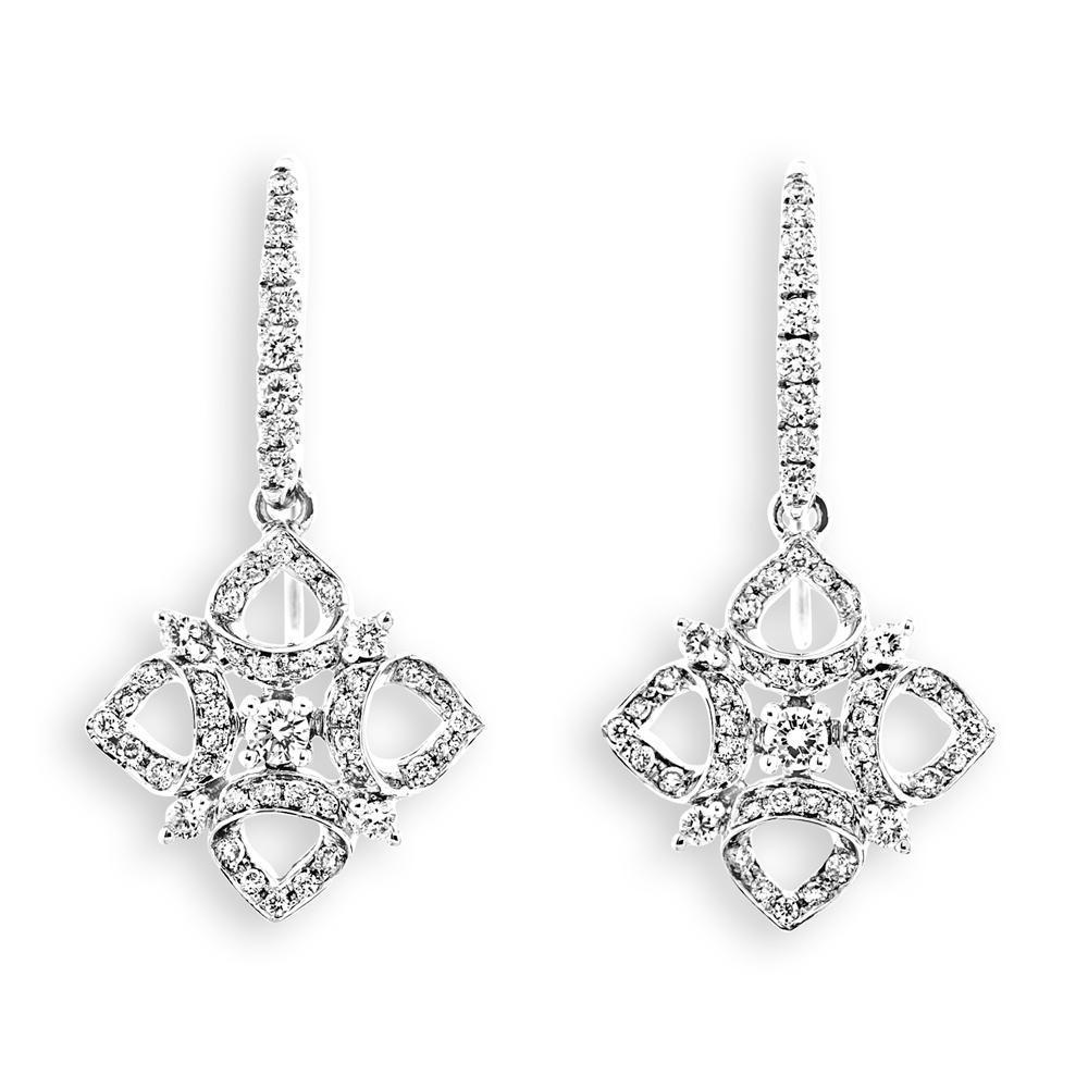 Royal Windsor Star Earrings in 18k White Gold with Diamonds (0.482ct) Earrings IAD