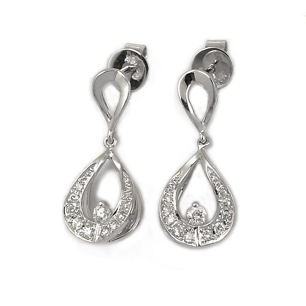 Royal Windsor Teardrop Earrings in 18k White Gold with Diamonds (0.267ct) Earrings IAD