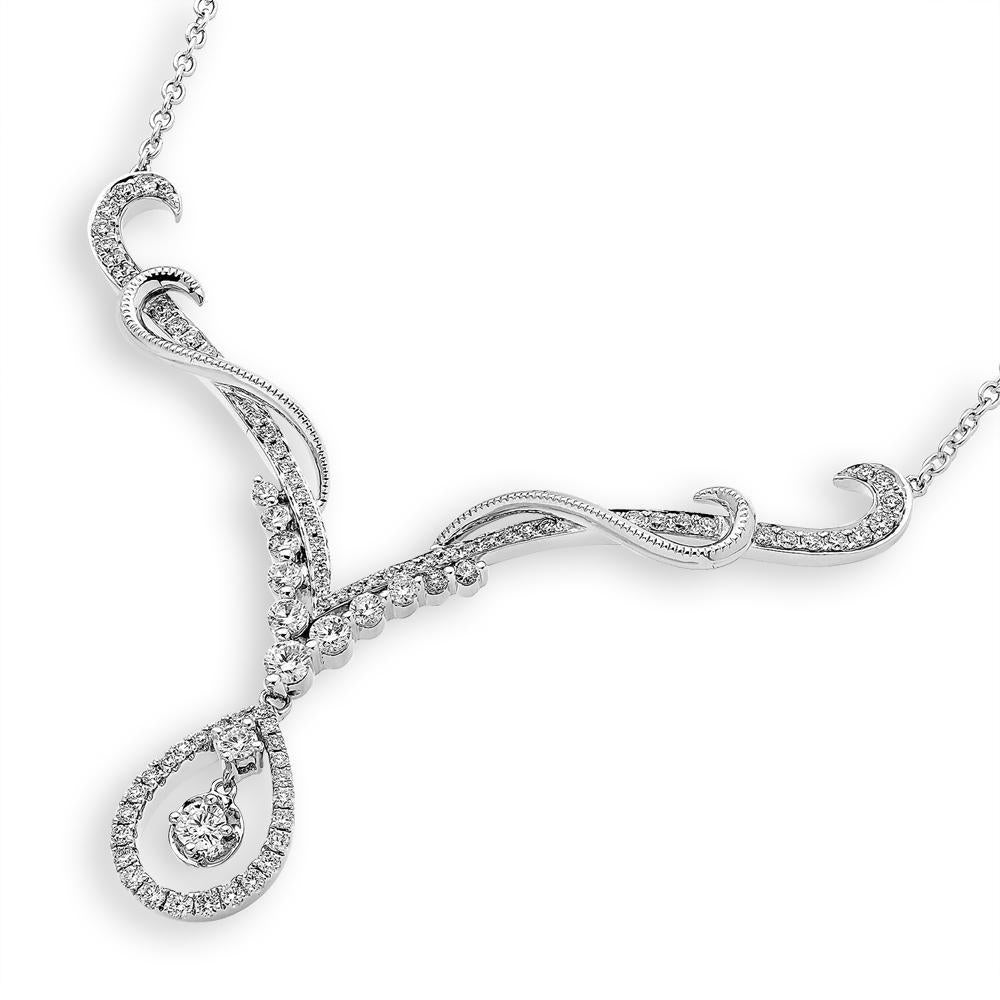 Royal Windsor Teardrop Necklace in 18k White Gold with Diamonds (0.931ct) Necklace IAD