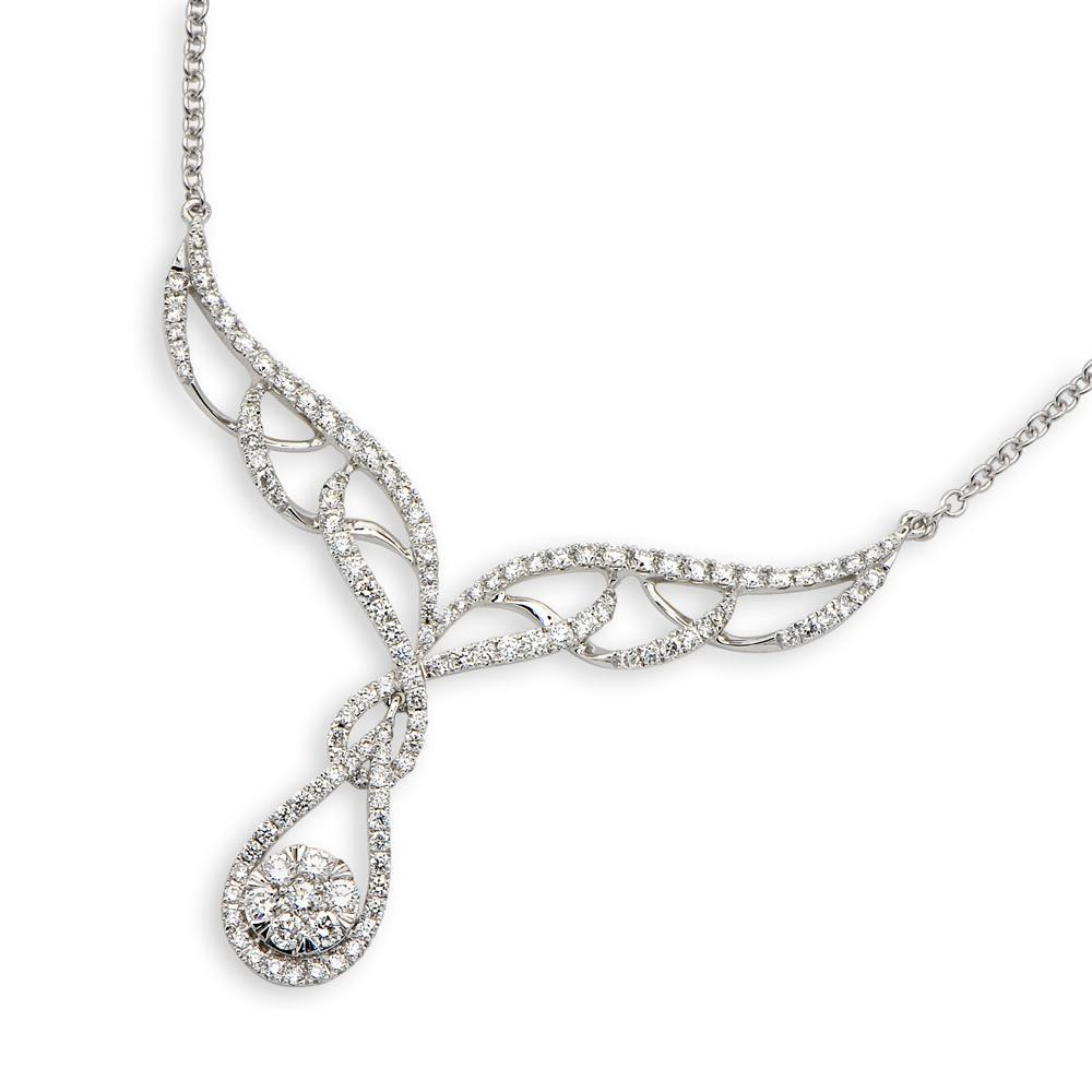 Royal Windsor Teardrop Necklace in 18k White Gold with Diamonds (1.236ct) Necklace IAD