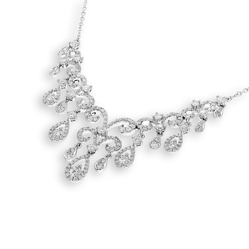 Royal Windsor Teardrop Necklace in 18k White Gold with Diamonds (3.285ct) Necklace IAD