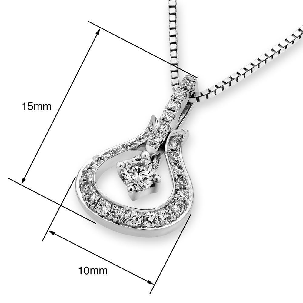 Royal Windsor Teardrop Pendant in 18k White Gold with Diamonds (0.233ct) Pendant IAD