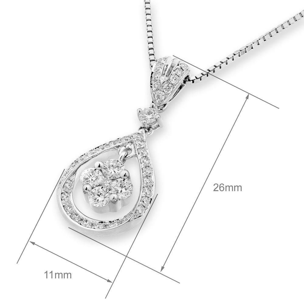 Royal Windsor Teardrop Pendant in 18k White Gold with Diamonds (0.585ct) Pendant IAD