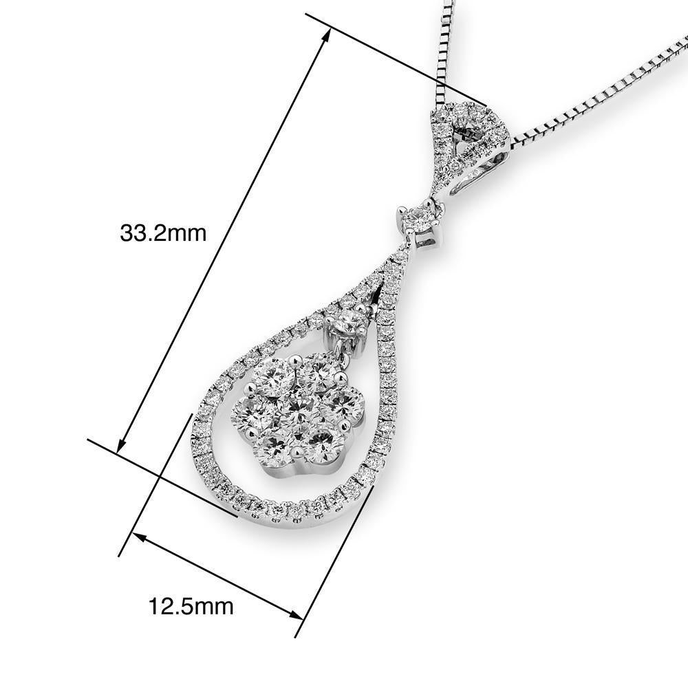 Royal Windsor Teardrop Pendant in 18k White Gold with Diamonds (0.931ct) Pendant IAD
