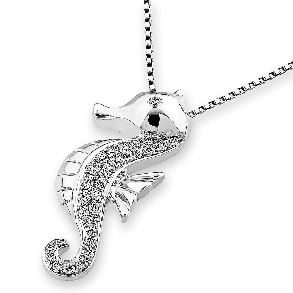 Seahorse Pendant in 18k White Gold with Diamonds (0.27ct) Pendant IAD
