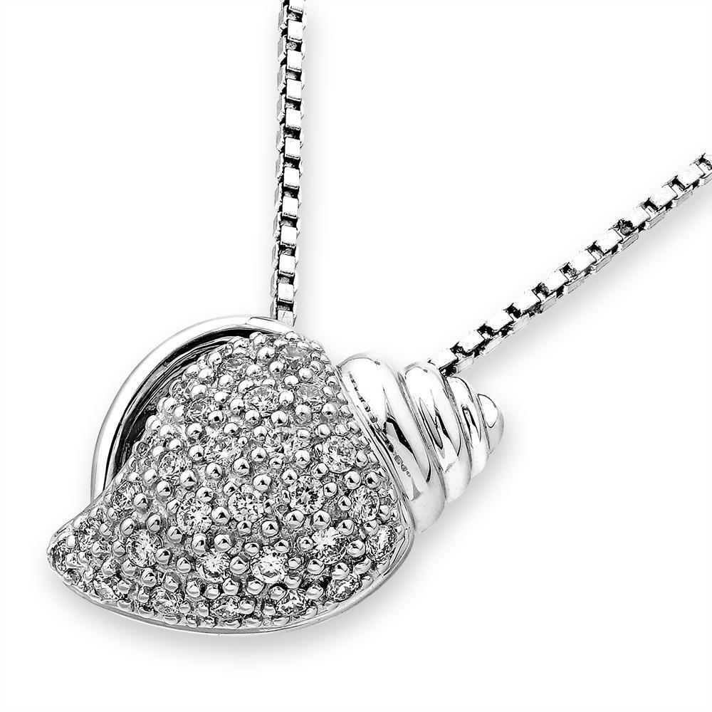 Shell Pendant in 18k White Gold with Diamonds (0.209ct) Pendant IAD