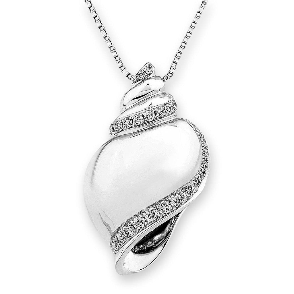 Shell Pendant in 18k White Gold with Diamonds (0.378ct) Pendant IAD