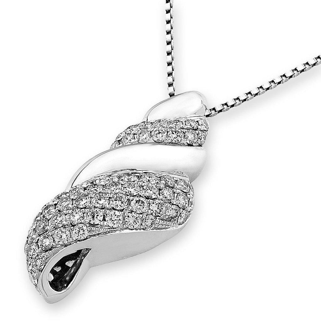 Shell Pendant in 18k White Gold with Diamonds (0.951ct) Pendant IAD