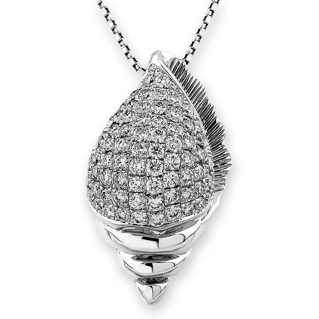 Shell Pendant in 18k White Gold with Diamonds (1.196ct) Pendant IAD