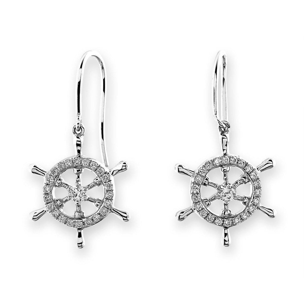 Ship's Wheel Earrings in 18k White Gold with Diamonds (0.261ct) Earrings IAD