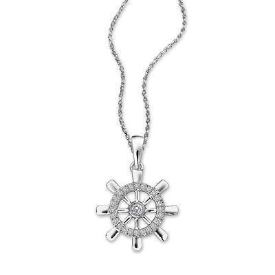 Ship's Wheel Pendant in 18k White Gold with Diamonds (0.114ct) Pendant IAD