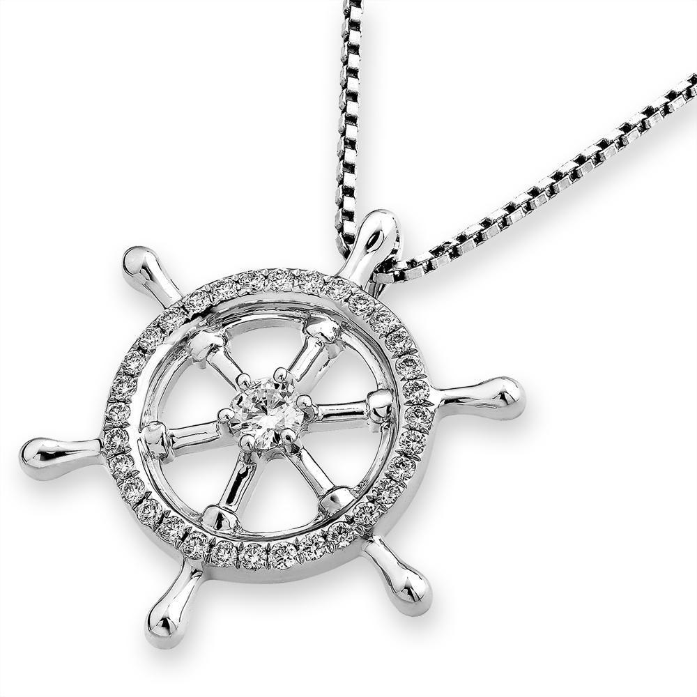 Ship's Wheel Pendant in 18k White Gold with Diamonds (0.289ct) Pendant IAD