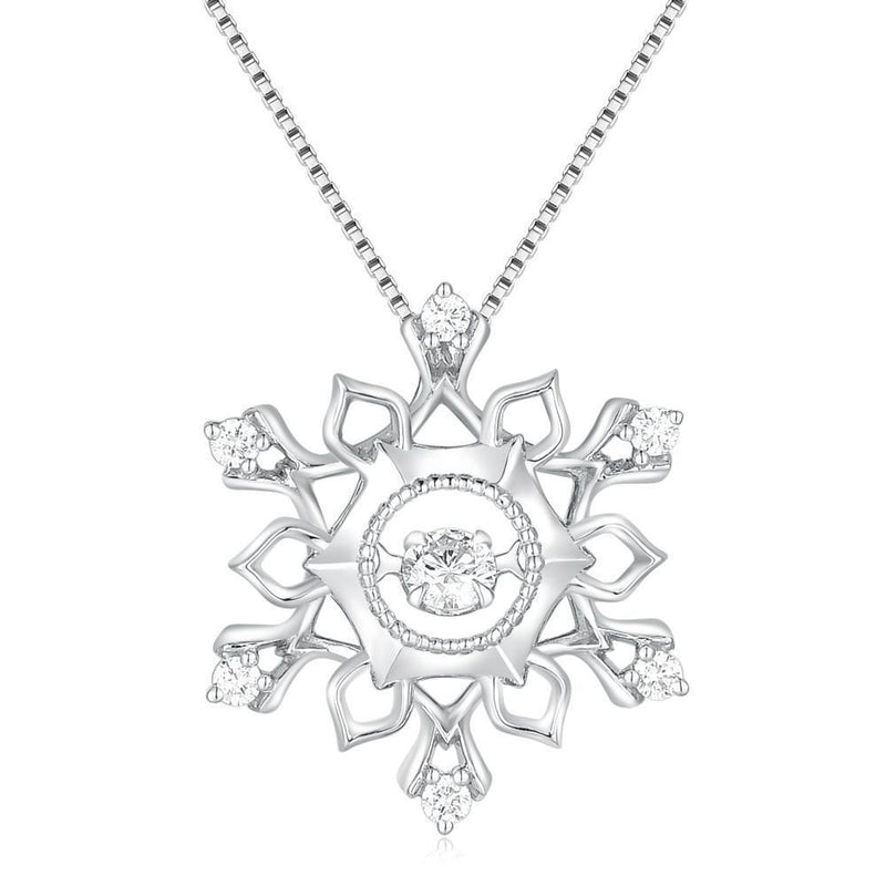 Snow-Crystal Star Pendant in 18k White Gold with Diamonds (0.21ct) Pendant IAD