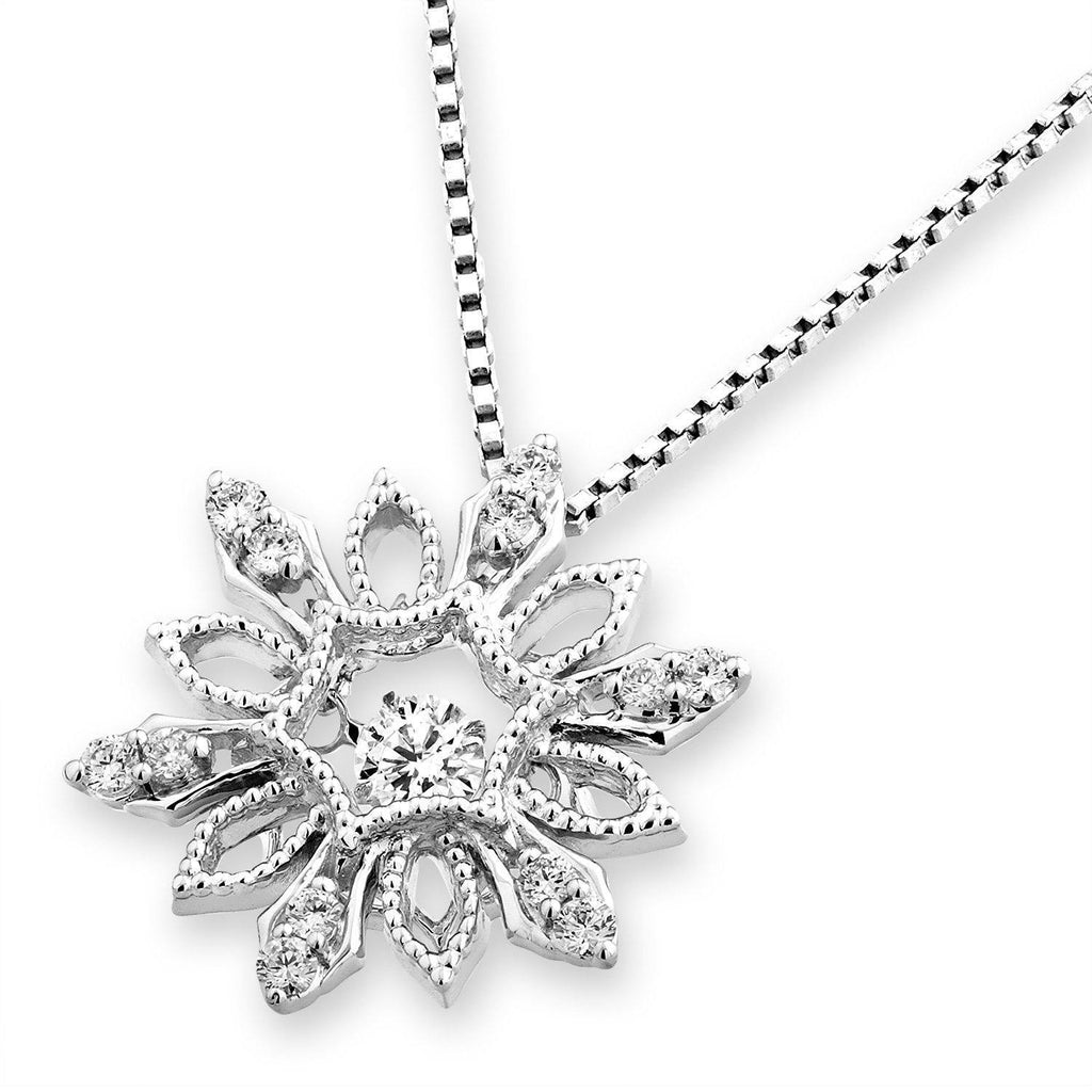 Snow-Crystal Star Pendant in 18k White Gold with Diamonds (0.266ct) Pendant IAD