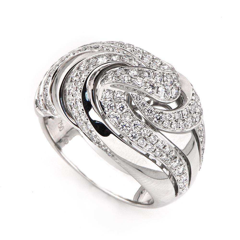 Spiral Ring in 18k White Gold with Diamonds (1.132ct) Ring IAD