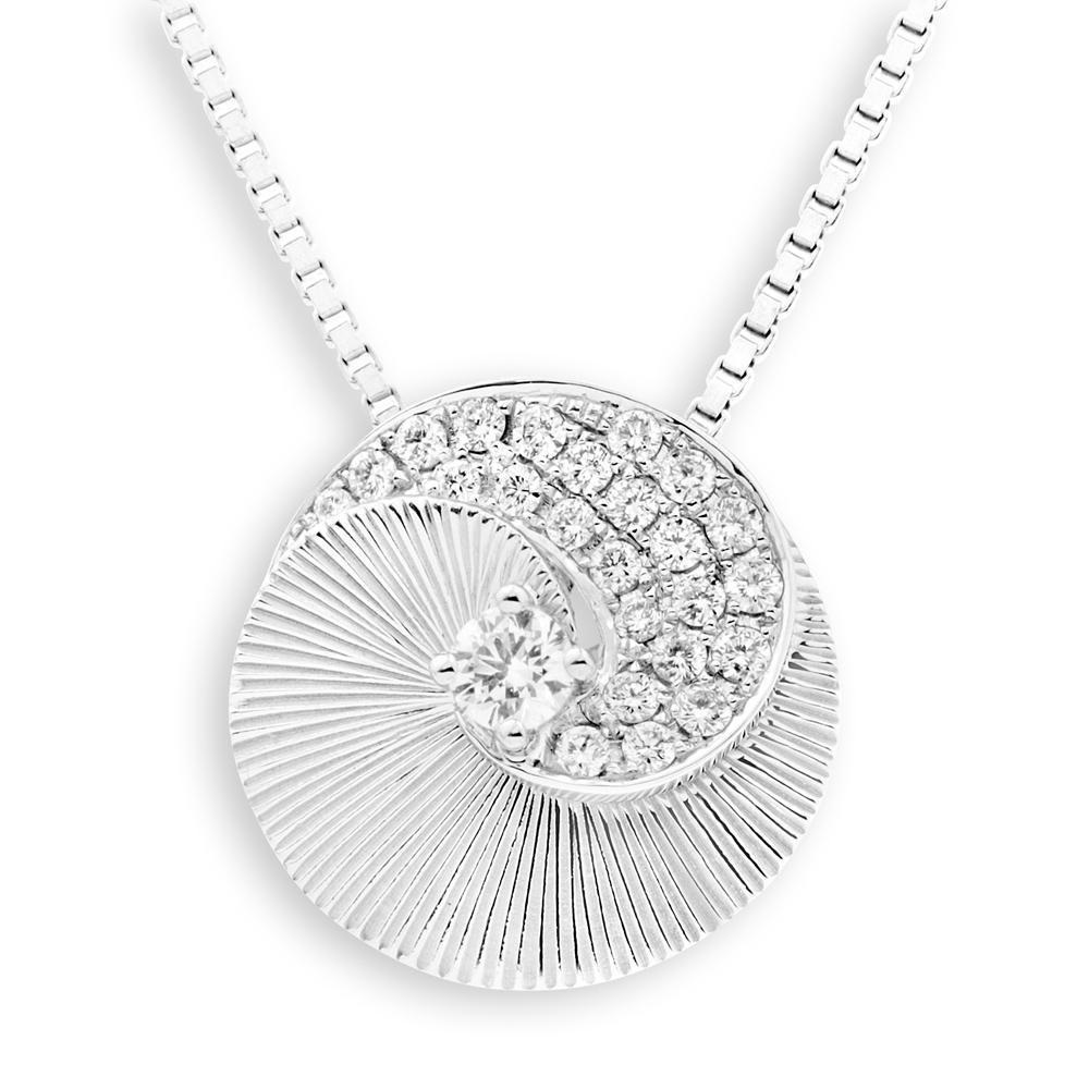 Spiral Shell Pendant in 18k White Gold with Diamonds (0.204ct) Pendant IAD
