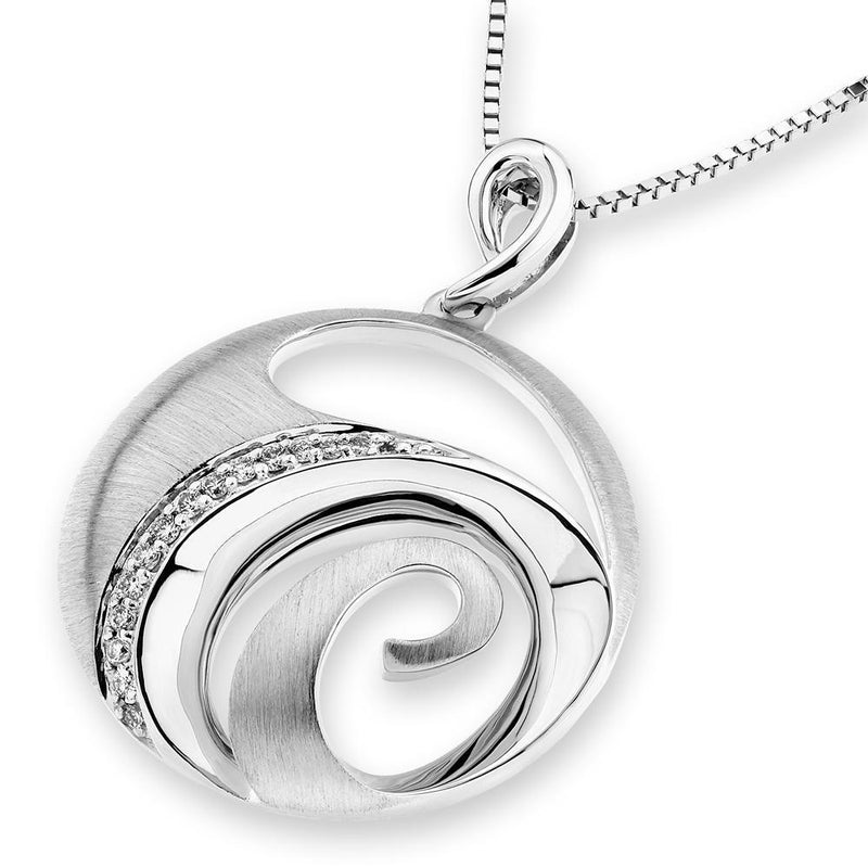 Spiral Wave Pendant in 18k White Gold with Diamonds (0.063ct) Pendant IAD