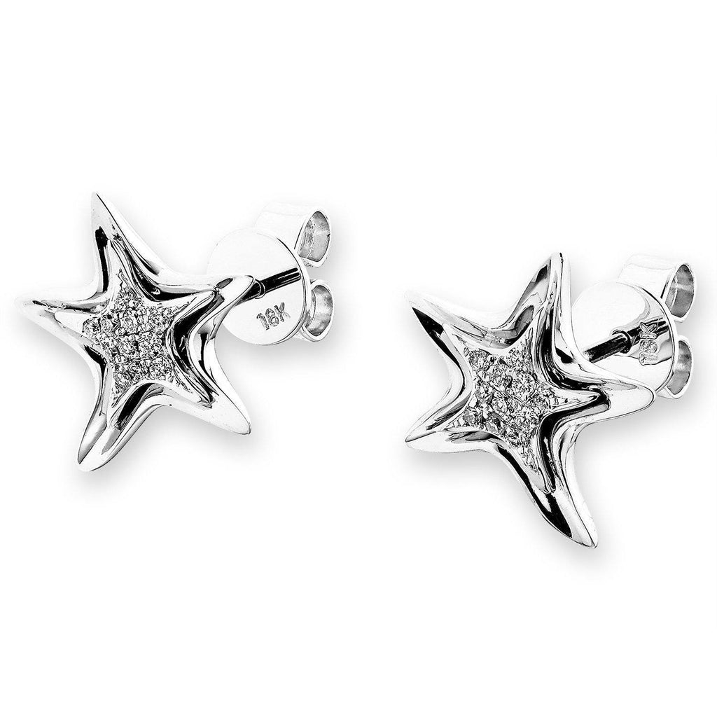 Star Earrings in 18k White Gold with Diamonds (0.09ct) Earrings IAD