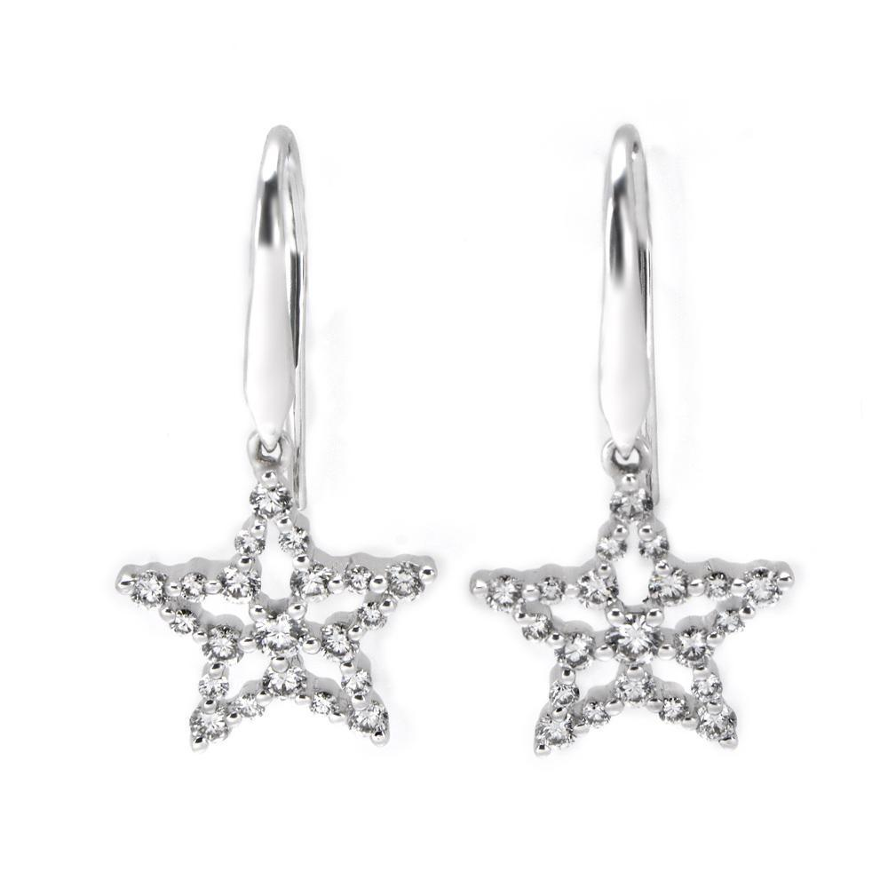 Star Earrings in 18k White Gold with Diamonds (0.492ct) Earrings IAD
