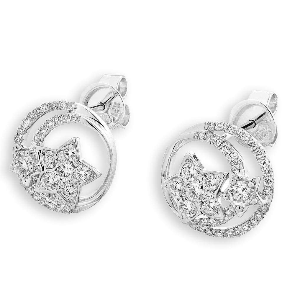 Star Earrings in 18k White Gold with Diamonds (0.827ct) Earrings IAD