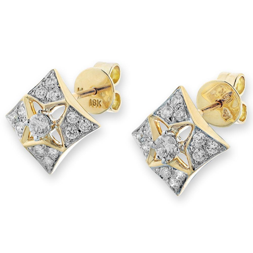 Star Earrings in 18k White & Yellow Gold with Diamonds (0.435ct) Earrings IAD