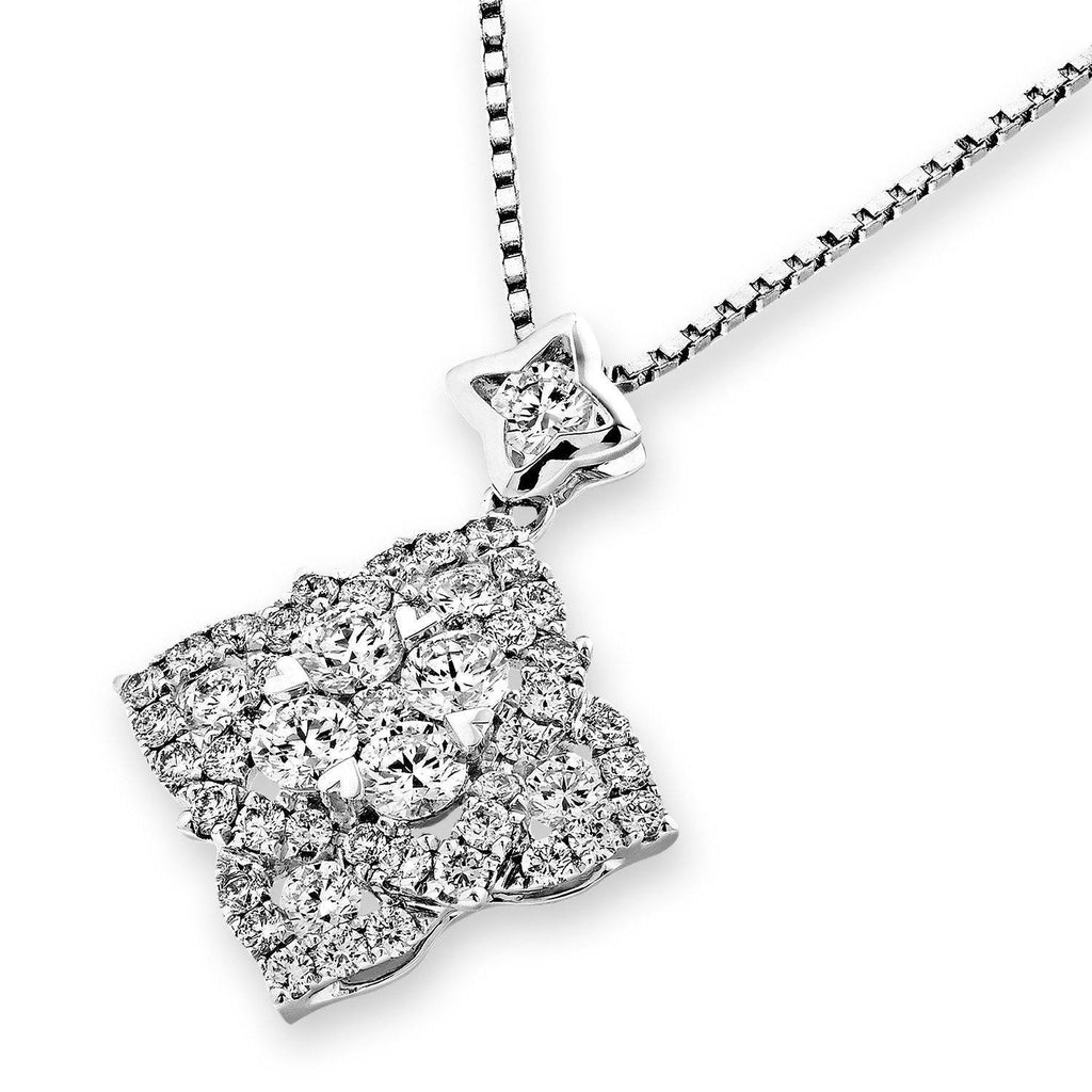 Star-Flower Pendant in 18k White Gold with Diamonds (0.998ct) Pendant IAD