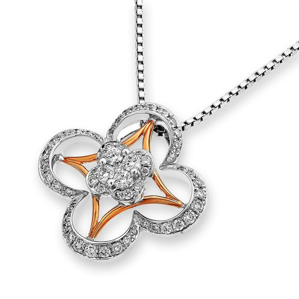 Star-Flower Pendant in 18k White & Rose Gold with Diamonds (0.351ct) Pendant IAD