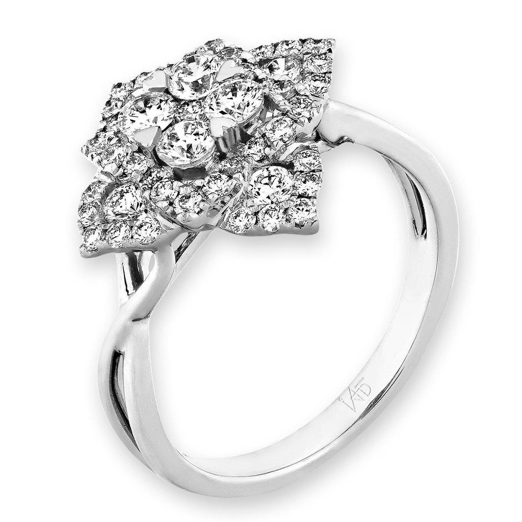Star-Flower Ring in 18k White Gold with Diamonds (0.915ct) Ring IAD