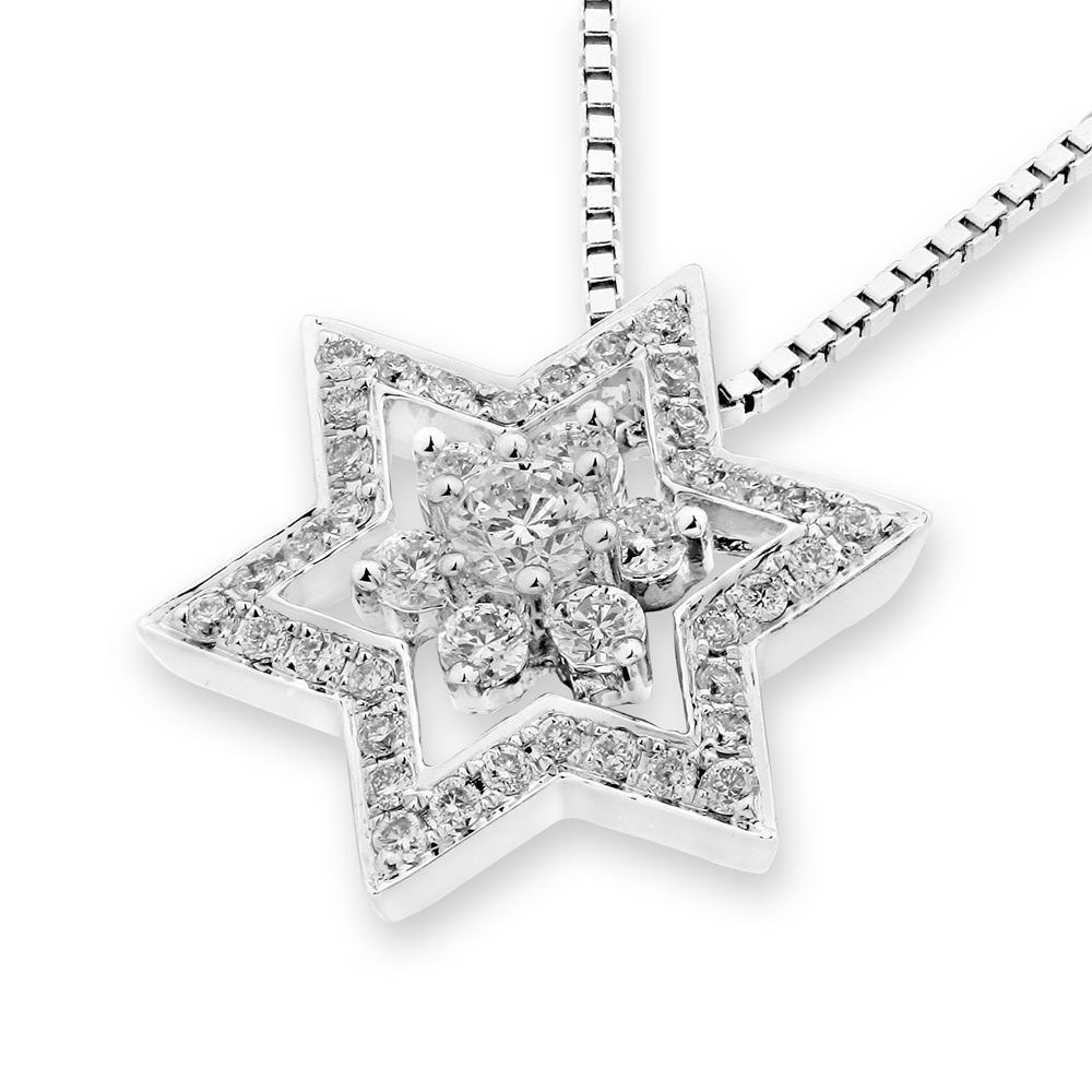 Star Pendant in 18k White Gold with Diamonds (0.356ct) Pendant IAD