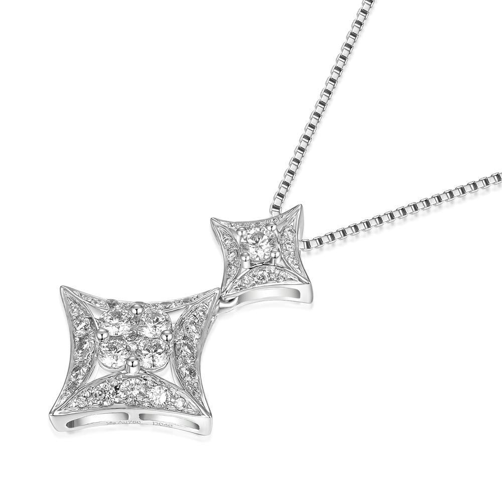 Star Pendant in 18k White Gold with Diamonds (0.464ct) Pendant IAD