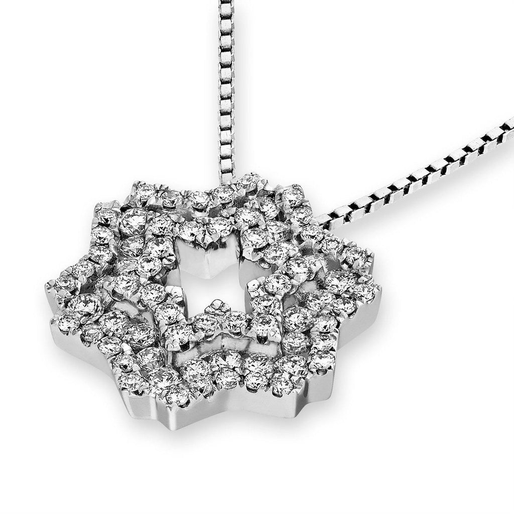 Star Pendant in 18k White Gold with Diamonds (0.618ct) Pendant IAD