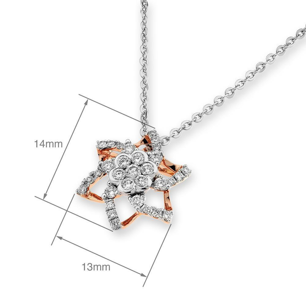 Star Pendant in 18k White & Rose Gold with Diamonds (0.36ct) Pendant IAD