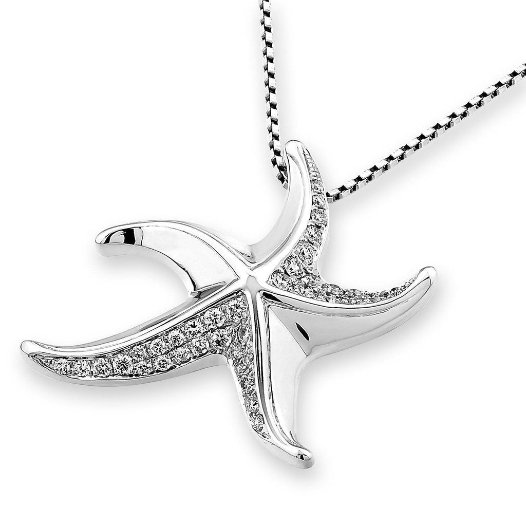 Starfish Pendant in 18k White Gold with Diamonds (0.302ct) Pendant IAD