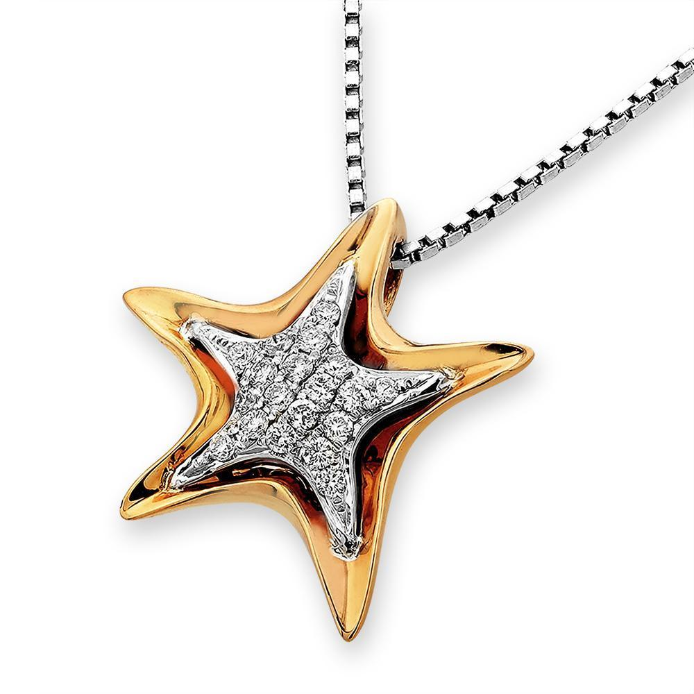 Starfish Pendant in 18k White & Yellow Gold with Diamonds (0.125ct) Pendant IAD