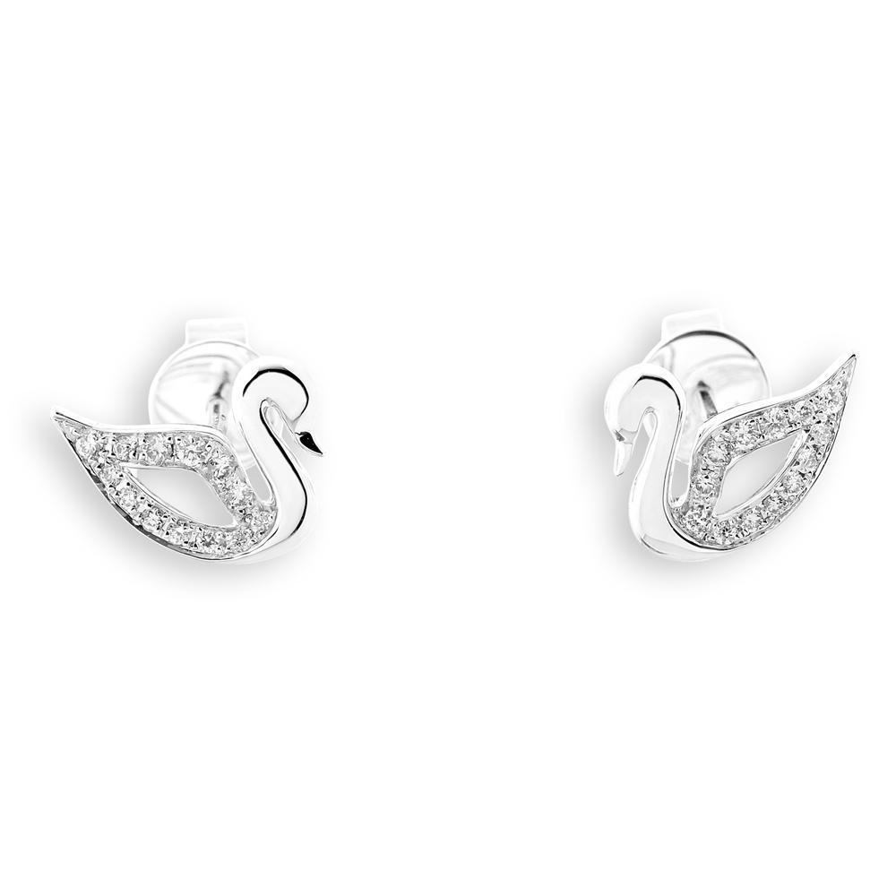 Swan Earrings in 18k White Gold with Diamonds (0.119ct) Earrings IAD