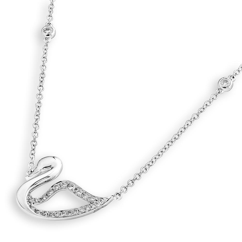 Swan Necklace in 18k White Gold with Diamonds (0.237ct) Necklace IAD
