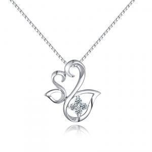 Swan Pendant in 18k White Gold with Diamonds (0.099ct) Pendant IAD
