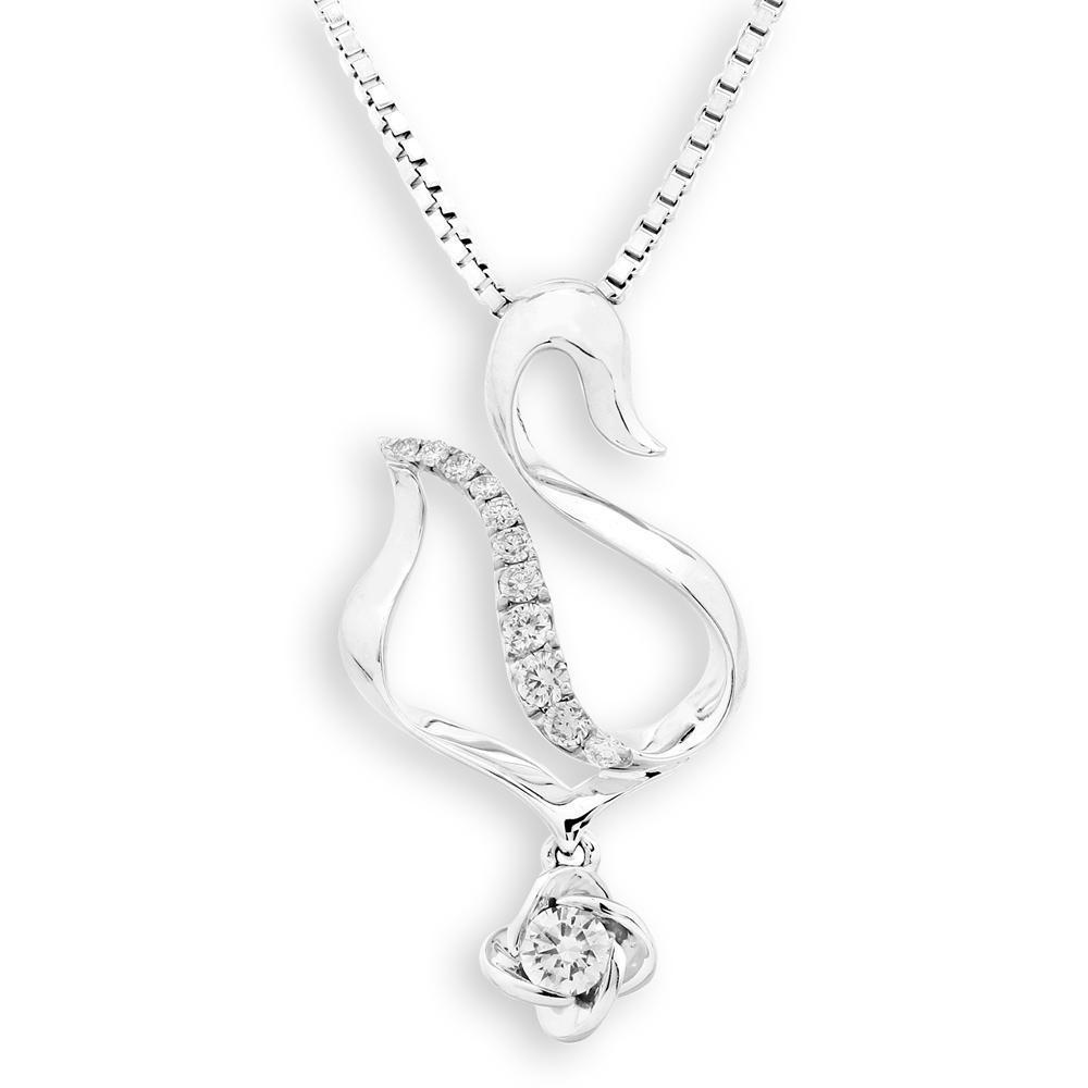 Swan Pendant in 18k White Gold with Diamonds (0.127ct) Pendant IAD
