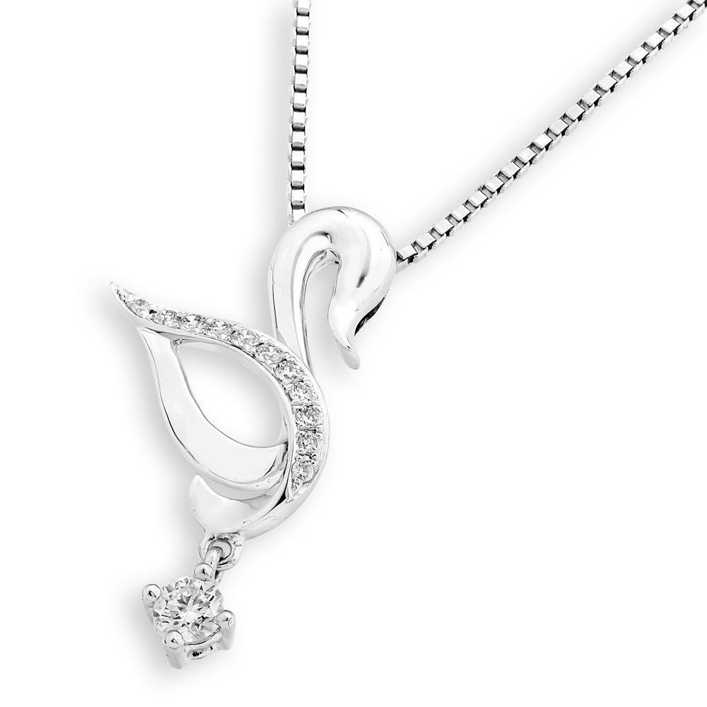 Swan Pendant in 18k White Gold with Diamonds (0.169ct) Pendant IAD