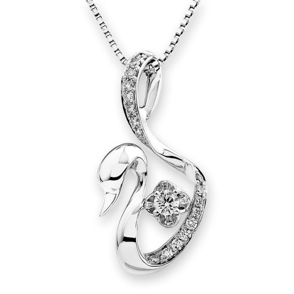 Swan Pendant in 18k White Gold with Diamonds (0.242ct) Pendant IAD
