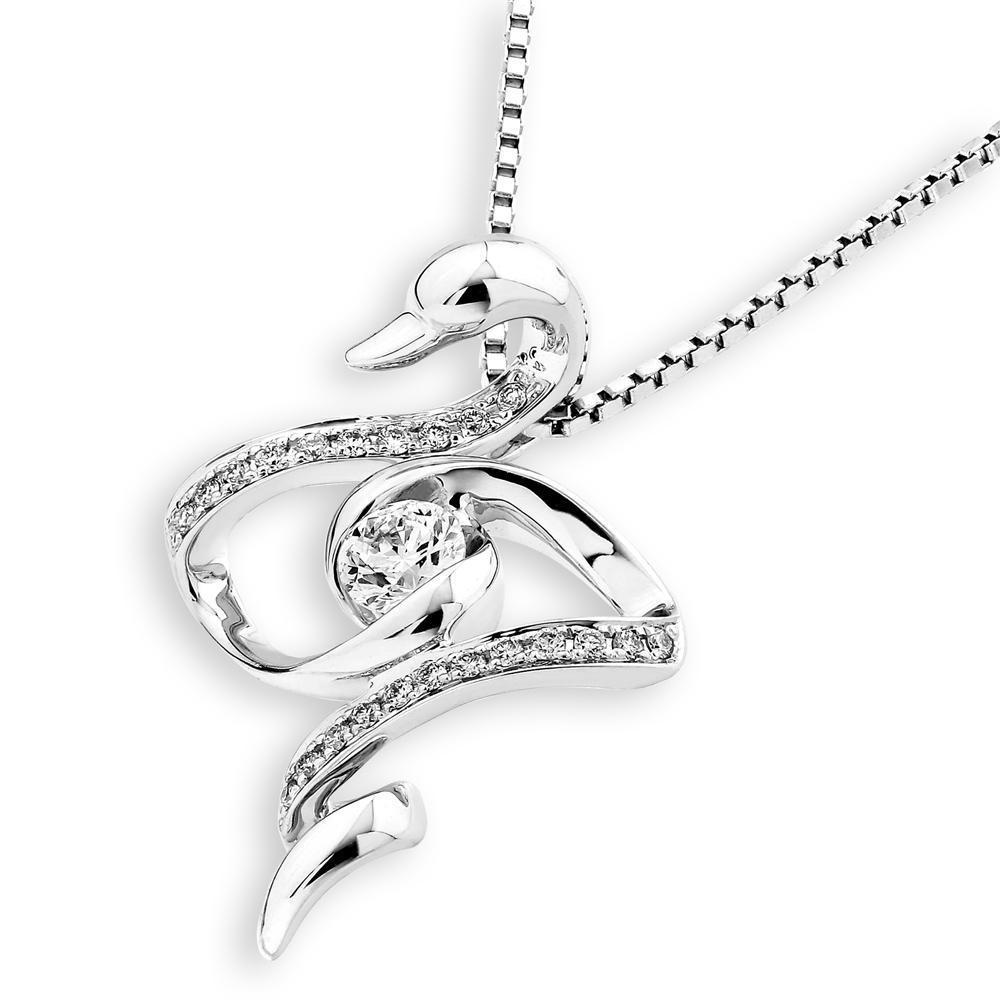 Swan Pendant in 18k White Gold with Diamonds (0.275ct) Pendant IAD