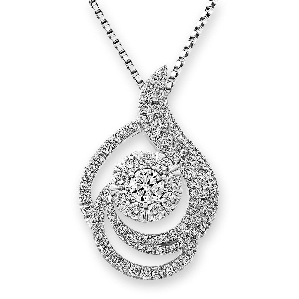 Swirl Pendant in 18k White Gold with Diamonds (0.859ct) Pendant IAD