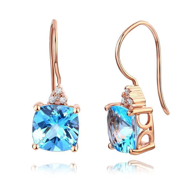 Swiss Blue Topaz (2.5ct) Earrings in 14k Rose Gold with Diamonds (0.07ct) 14K Gold Earrings Oanthan