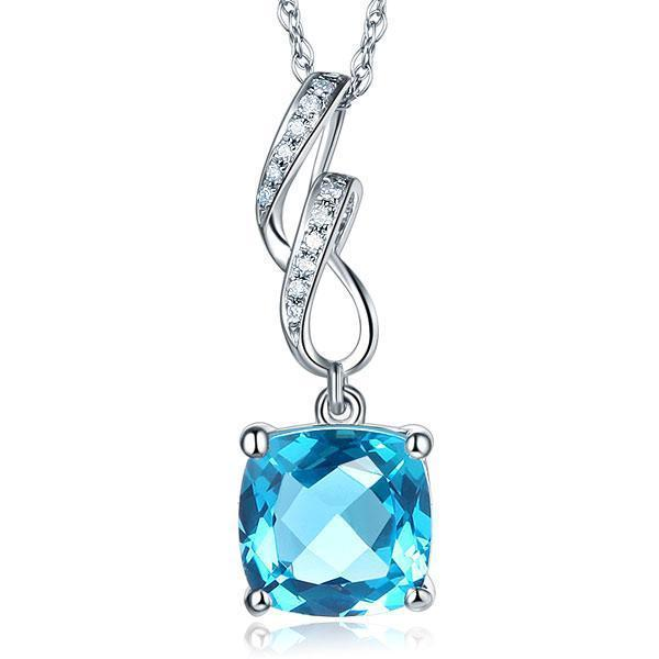 Swiss Blue Topaz (2.5ct) in 14k White Gold Pendant with Diamonds (0.12ct) 14K Gold Pendants Oanthan