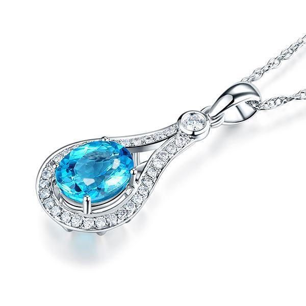 Swiss Blue Topaz (2.5ct) in 14k White Gold Pendant with Diamonds (0.263ct) 14K Gold Pendants Oanthan