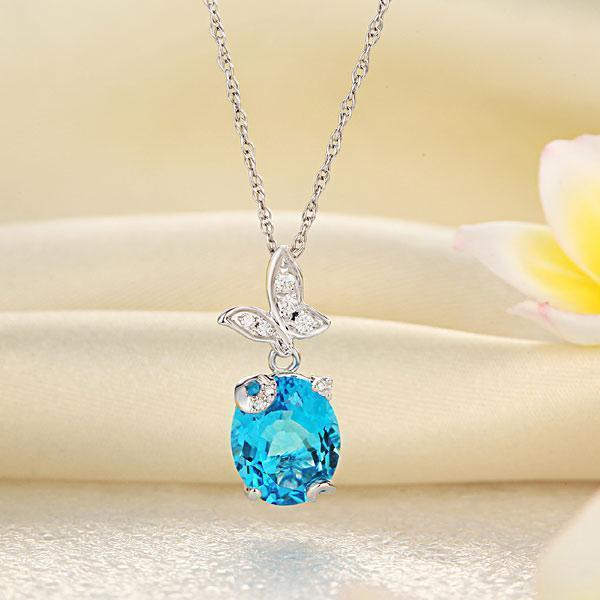 Swiss Blue Topaz (3.4ct) Butterfly Pendant in 14k White Gold with Diamonds (0.17ct) 14K Gold Pendants Oanthan